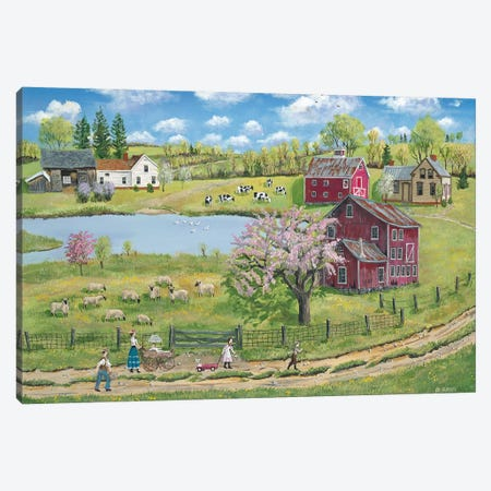 Spring Picnic Walk Canvas Print #BOF116} by Bob Fair Canvas Wall Art