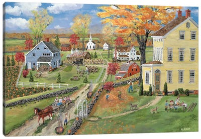Autumn Chores Canvas Art Print