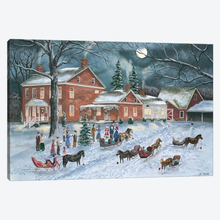 The Carolers Gather Canvas Print #BOF126} by Bob Fair Art Print