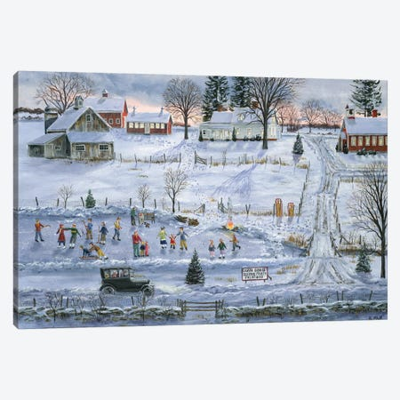 The Grange Skating Party Canvas Print #BOF127} by Bob Fair Canvas Print