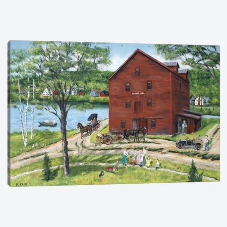 The Grist Mill (At West Stockbridge) Canvas Print #BOF128} by Bob Fair Canvas Artwork
