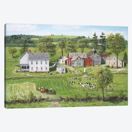 The Second Cutting of Hay Canvas Print #BOF134} by Bob Fair Canvas Artwork