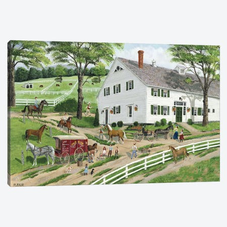 Trimming Hooves at the Stable Canvas Print #BOF140} by Bob Fair Canvas Artwork