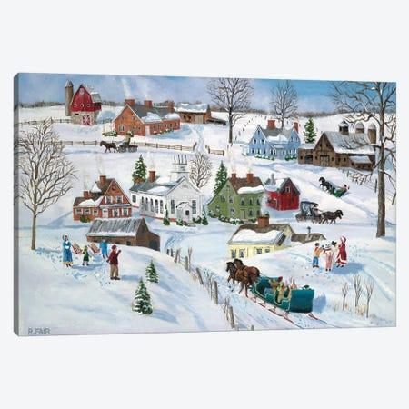 Winter Hamlet 3-Piece Canvas #BOF146} by Bob Fair Canvas Print