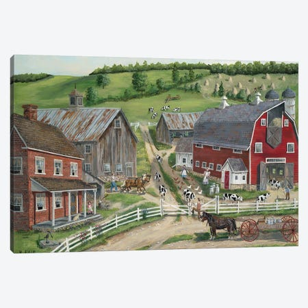Busy Barnyard Canvas Print #BOF21} by Bob Fair Canvas Art Print