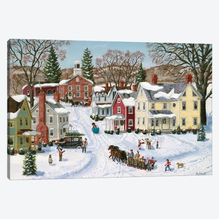 Christmas Sleigh Canvas Print #BOF29} by Bob Fair Art Print