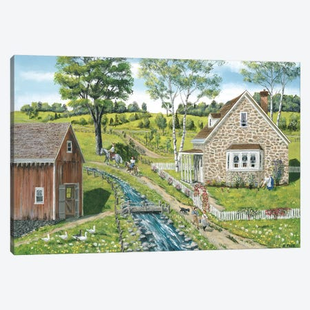 Cottage Pathway Canvas Print #BOF35} by Bob Fair Art Print