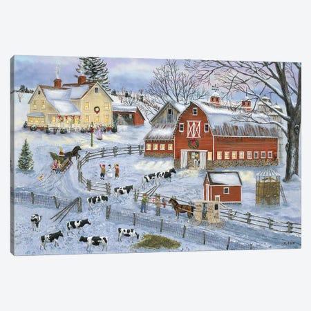 Dairy Farm at Christmas Canvas Print #BOF40} by Bob Fair Canvas Print