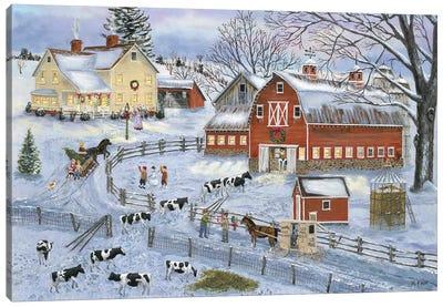 Dairy Farm at Christmas Canvas Art Print