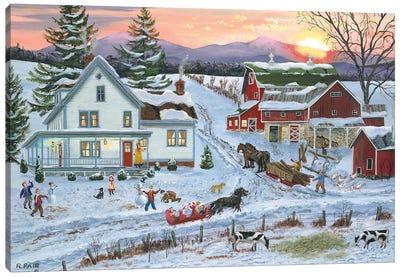 Duelling Snowmen Canvas Art Print