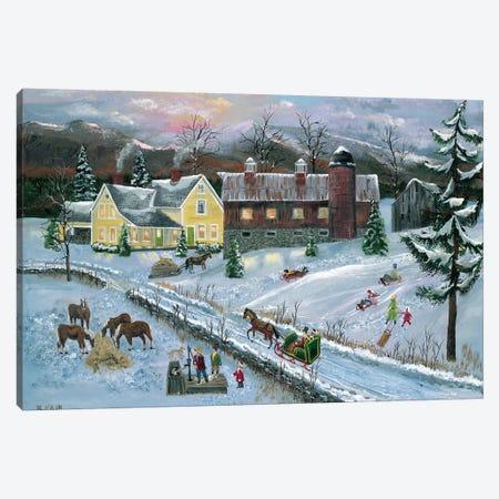 Farm at Dusk Canvas Print #BOF50} by Bob Fair Canvas Wall Art