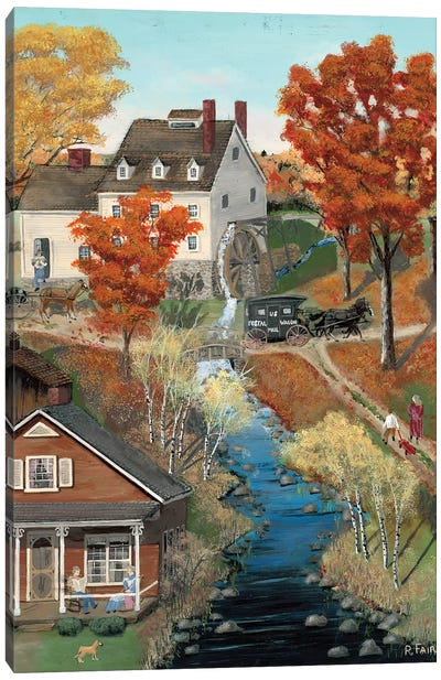 Grist Mill In Fall Canvas Art Print