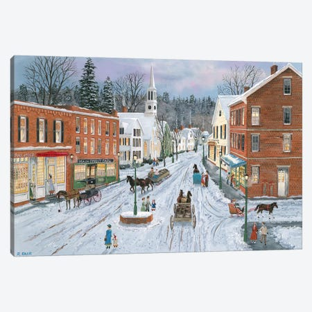 Main Street in Winter Canvas Print #BOF79} by Bob Fair Canvas Artwork