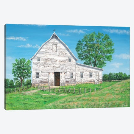 Old White Barn Canvas Print #BOF90} by Bob Fair Canvas Wall Art