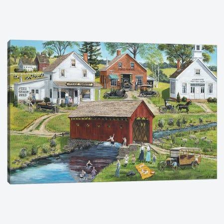 Our Town Beach Canvas Print #BOF92} by Bob Fair Canvas Art