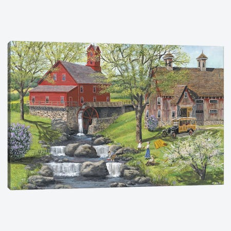 Picnic at the Mill Canvas Print #BOF99} by Bob Fair Canvas Wall Art