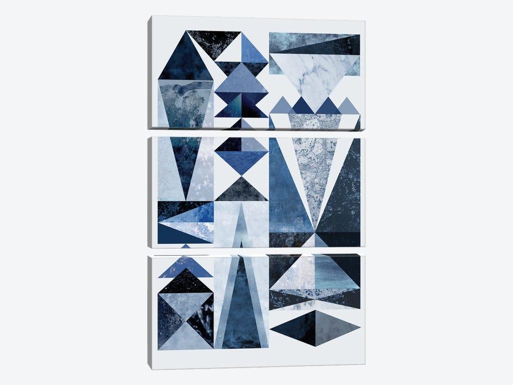 Blue Shapes by Mareike Böhmer 3-piece Canvas Wall Art