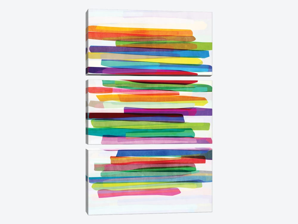 Colorful Stripes I 3-piece Canvas Wall Art