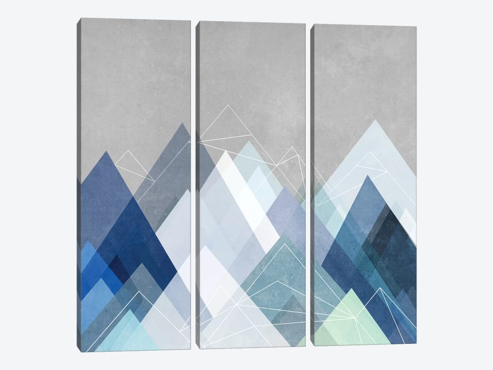 Graphic CVII.X In Blue by Mareike Böhmer 3-piece Canvas Art Print