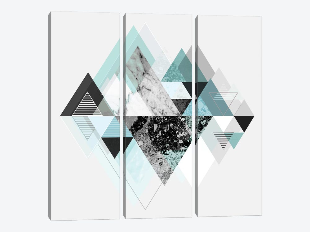Graphic CX In Turquoise by Mareike Böhmer 3-piece Canvas Print