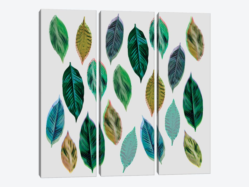 Green Leaves II by Mareike Böhmer 3-piece Canvas Wall Art