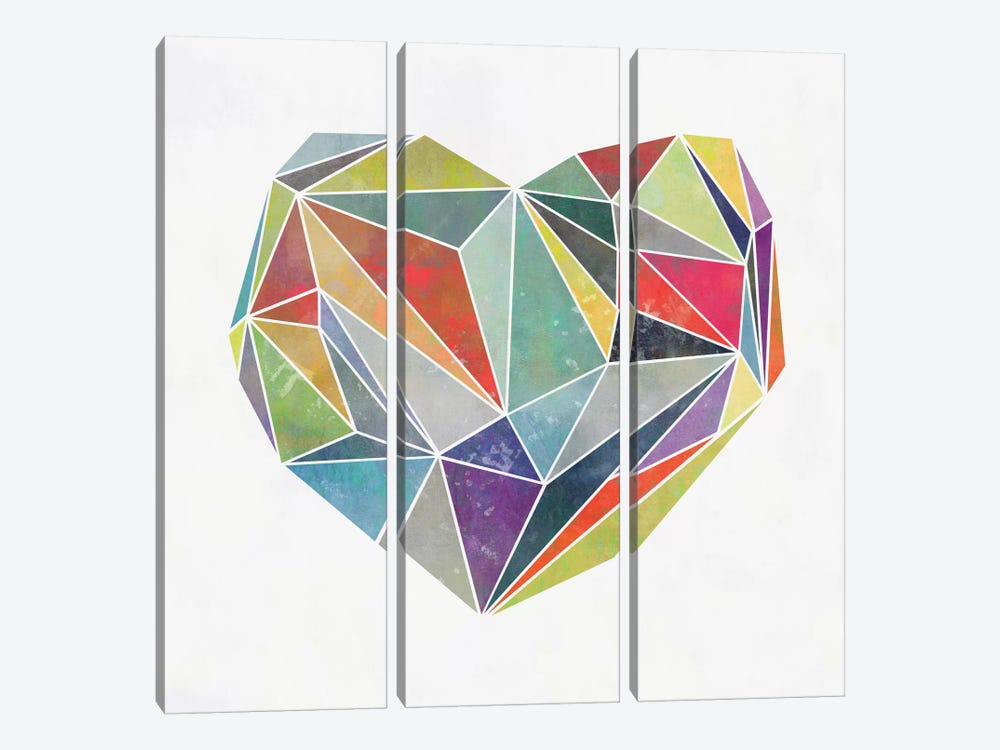 Heart Graphic V by Mareike Böhmer 3-piece Canvas Print