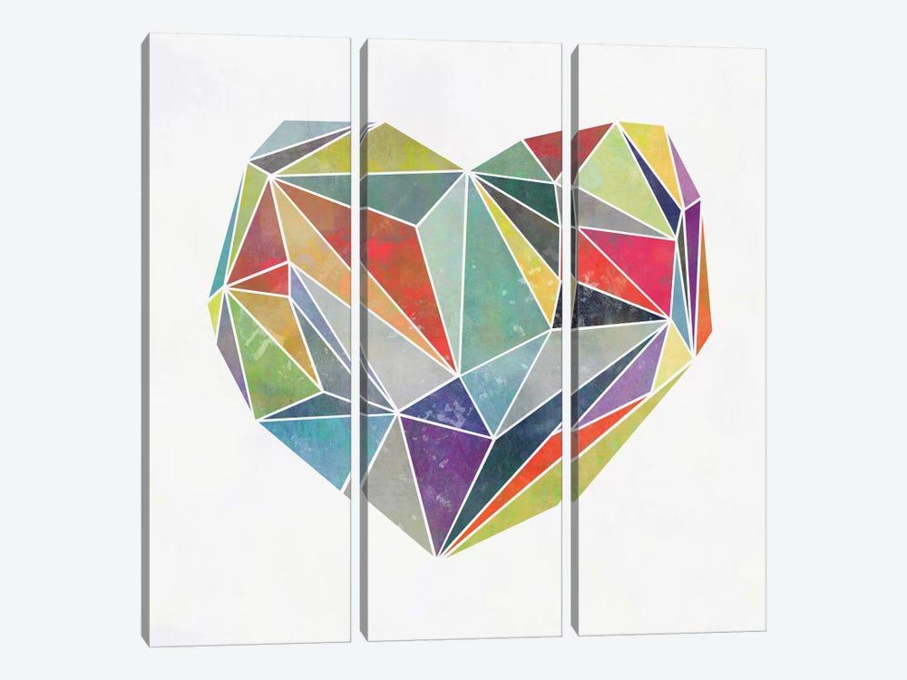 Heart Graphic V by Mareike Böhmer 3-piece Canvas Print