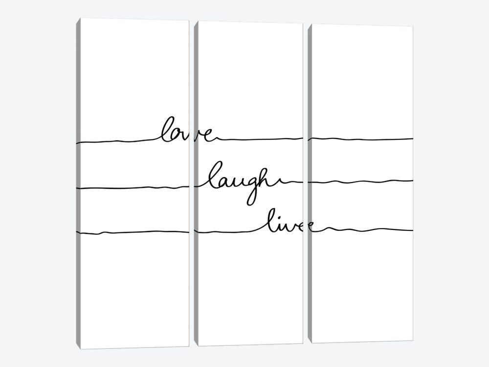 Love Laugh Live by Mareike Böhmer 3-piece Canvas Art Print