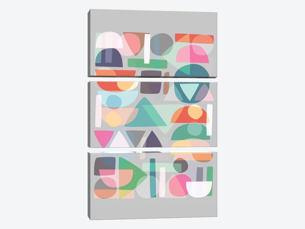 Pastel Geometry II by Mareike Böhmer 3-piece Canvas Wall Art