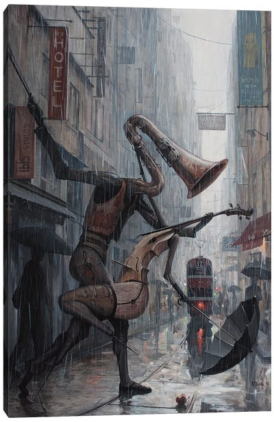 Life Is A Dance In The Rain Canvas Print #BOR32