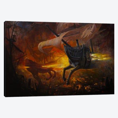 Spanish Galleons On Fire Canvas Print #BOR55} by Adrian Borda Canvas Art Print