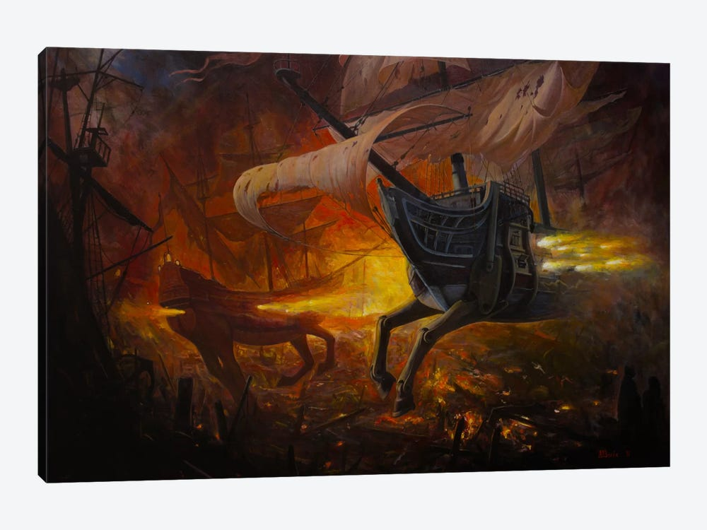 Spanish Galleons On Fire by Adrian Borda 1-piece Art Print