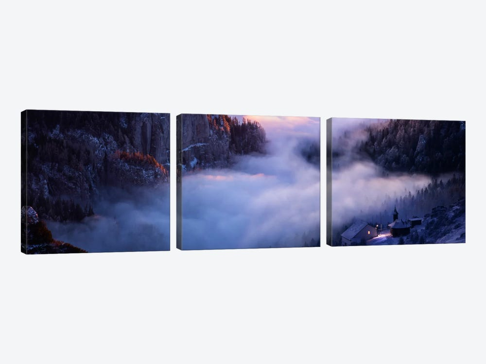 Alone Against All Darkness by Adrian Borda 3-piece Canvas Wall Art