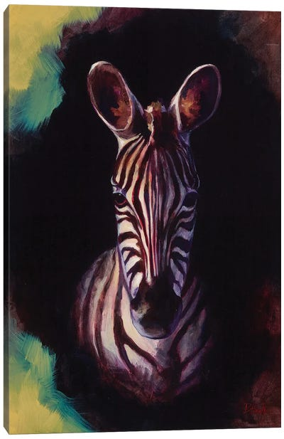 Portrait Of A Zebra Canvas Art Print