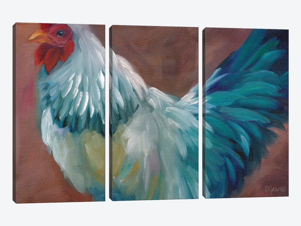 Blue Rooster by Marnie Bourque 3-piece Canvas Wall Art