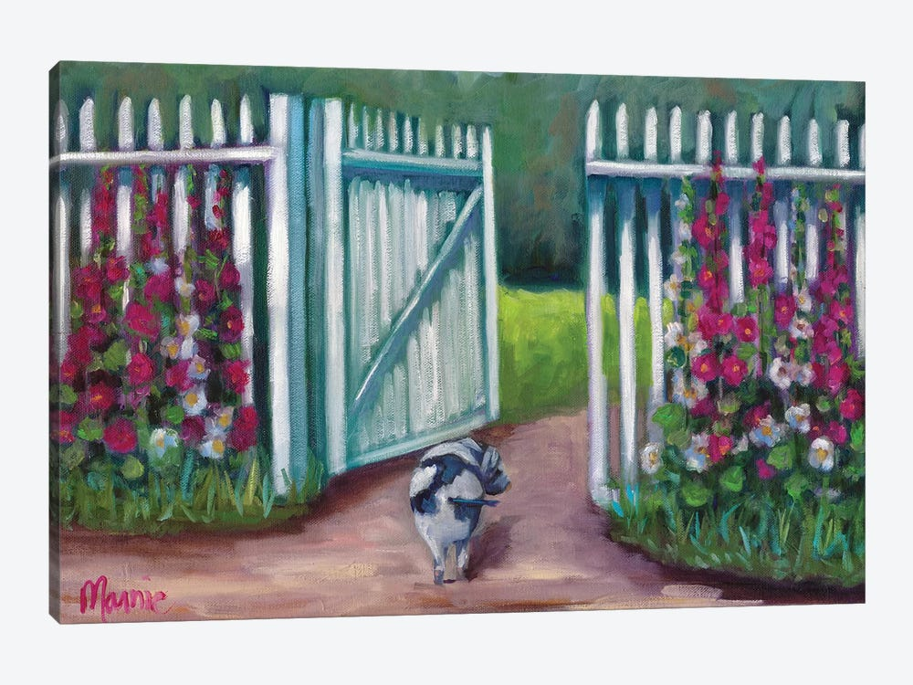 Daisy Smelling Flowers by Marnie Bourque 1-piece Canvas Art Print
