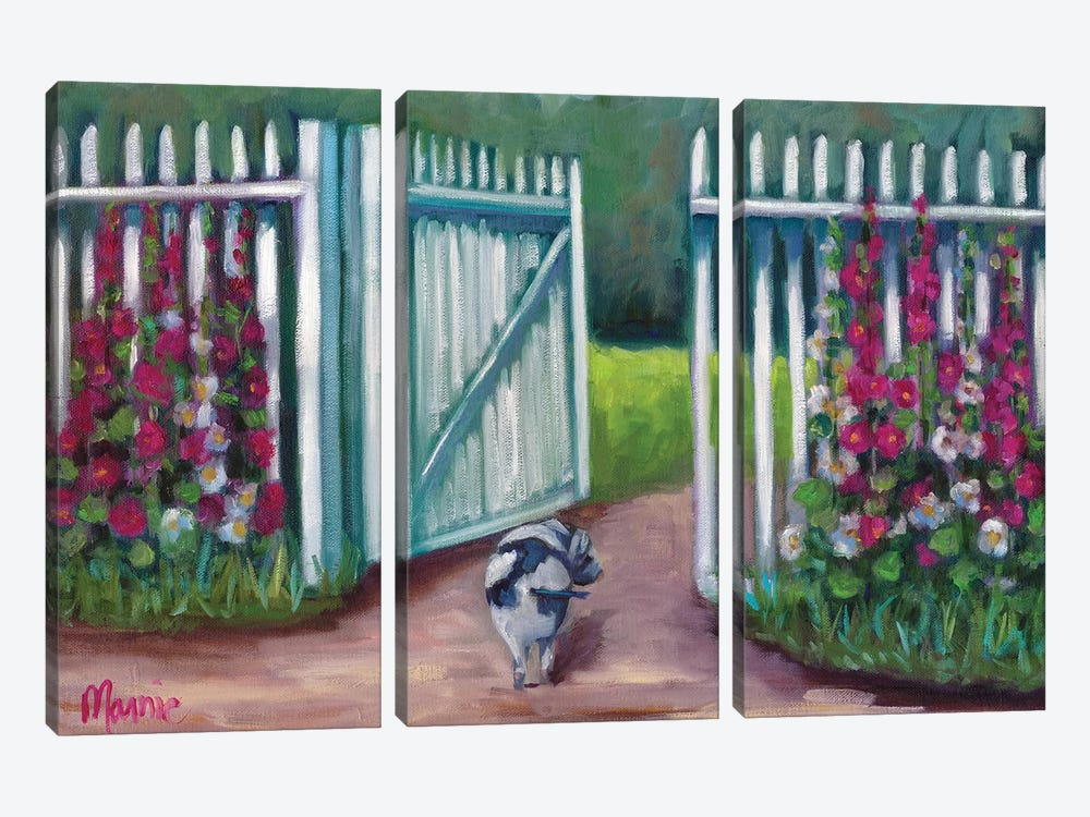 Daisy Smelling Flowers by Marnie Bourque 3-piece Art Print