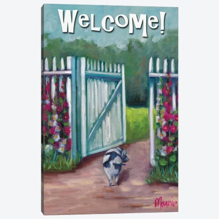 Daisy Smelling Flowers, Text 3-Piece Canvas #BOU17} by Marnie Bourque Canvas Artwork