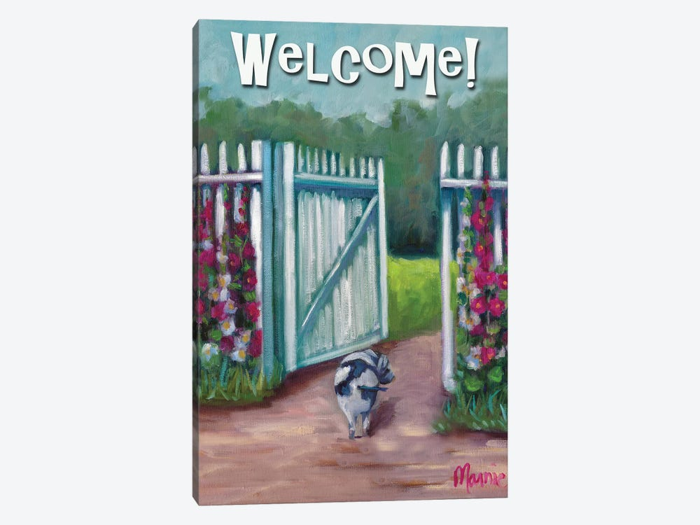 Daisy Smelling Flowers, Text by Marnie Bourque 1-piece Canvas Artwork