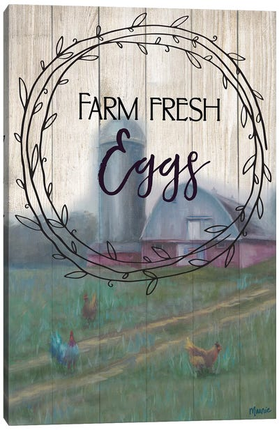 Farm Fresh Eggs, Circular Text Canvas Art Print