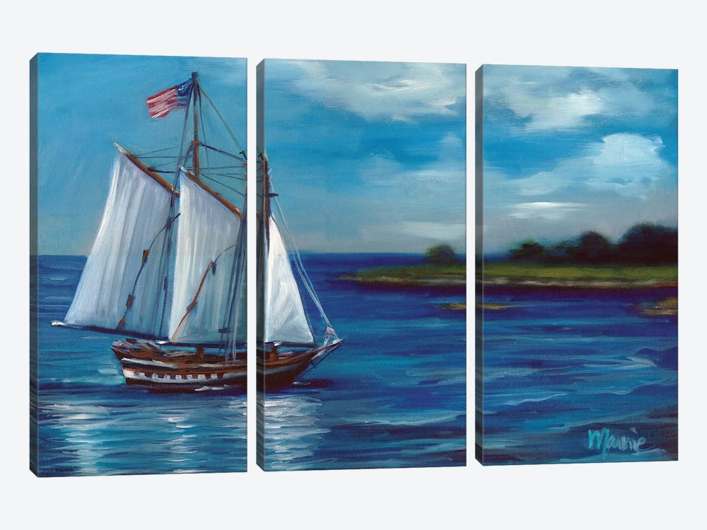 Flag On Parade by Marnie Bourque 3-piece Canvas Print
