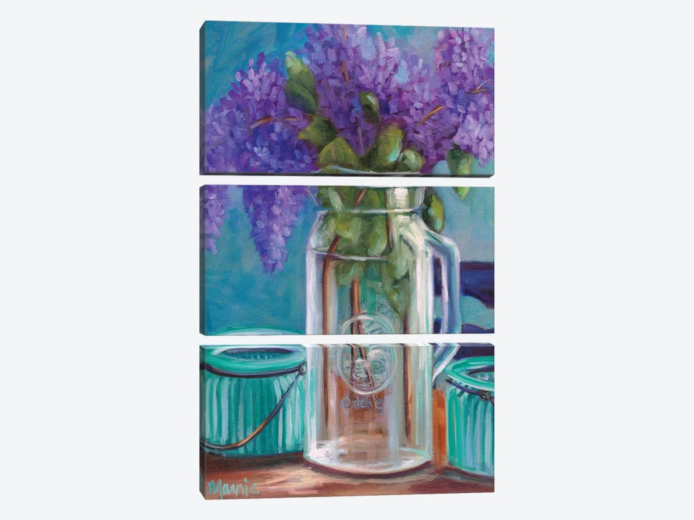 Homestead Lilacs by Marnie Bourque 3-piece Canvas Art Print