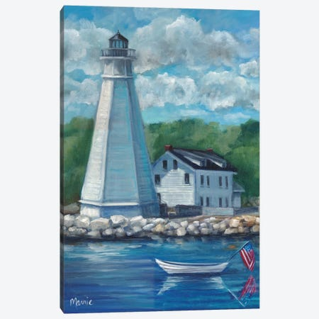 New London Lighthouse Canvas Print #BOU65} by Marnie Bourque Canvas Art Print