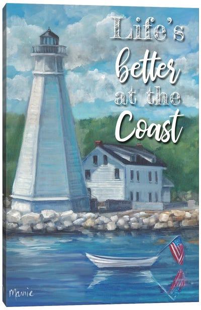 New London Lighthouse, Text Canvas Art Print