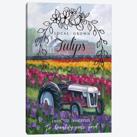 Tractoring Through The Tulips I Canvas Print #BOU92} by Marnie Bourque Canvas Print