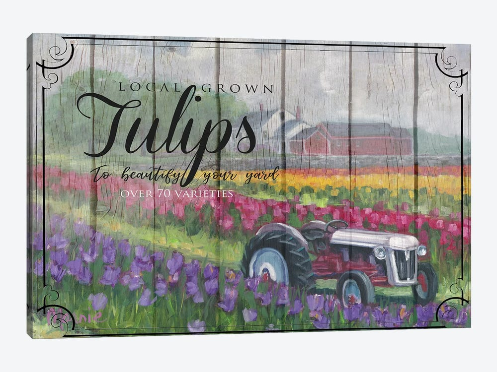 Tractoring Through The Tulips, Vintage by Marnie Bourque 1-piece Art Print
