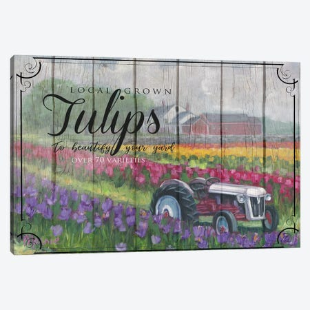 Tractoring Through The Tulips, Vintage Canvas Print #BOU94} by Marnie Bourque Canvas Artwork