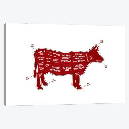 Not Bacon - Cow Canvas Print #BPP107} by Benton Park Prints Art Print