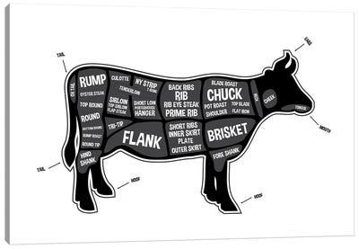 Cow Butcher Print Canvas Art Print