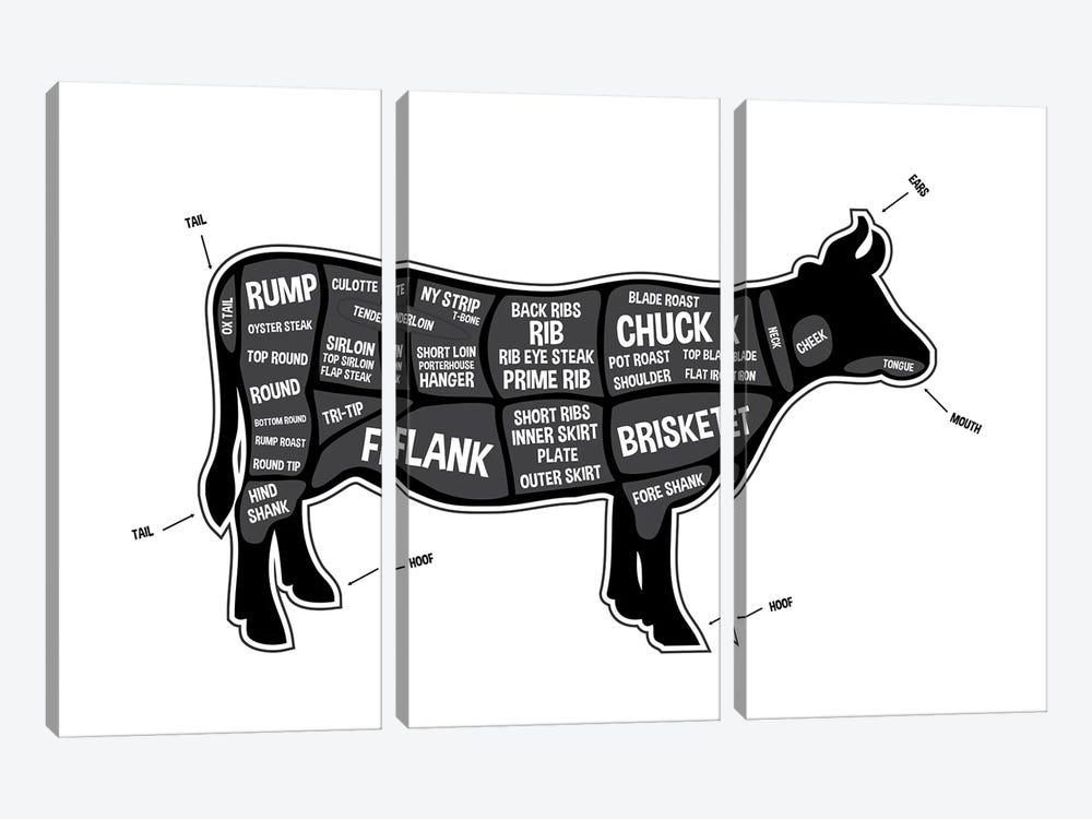Cow Butcher Print by Benton Park Prints 3-piece Canvas Art